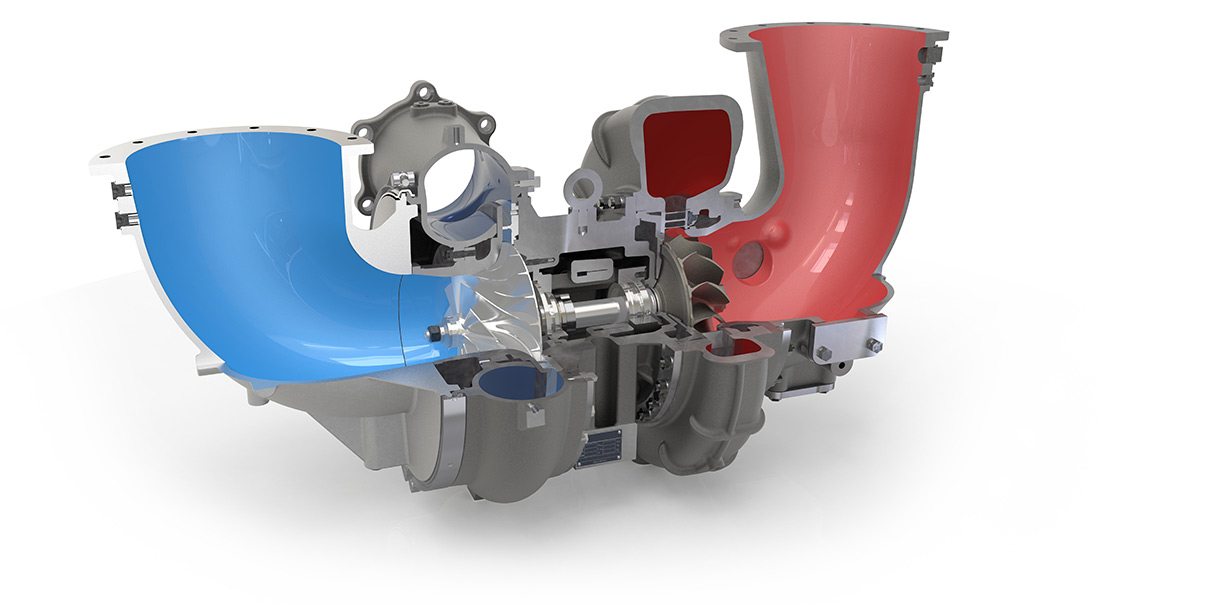 Turbocharger from HPR series in cross section 1