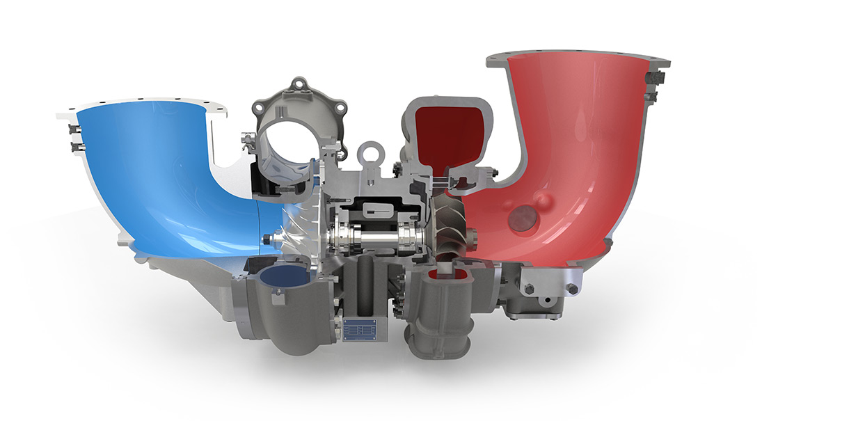 Turbocharger from HPR series in cross section 2