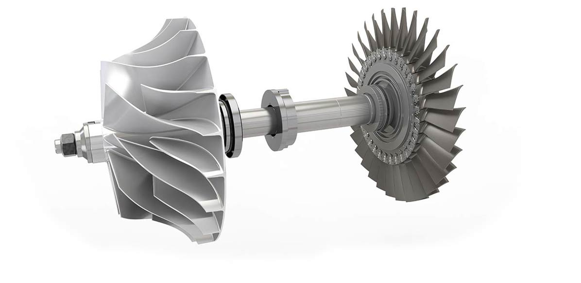 Rotor with axial turbine