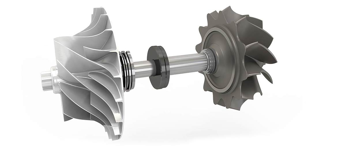 Rotor with radial turbine